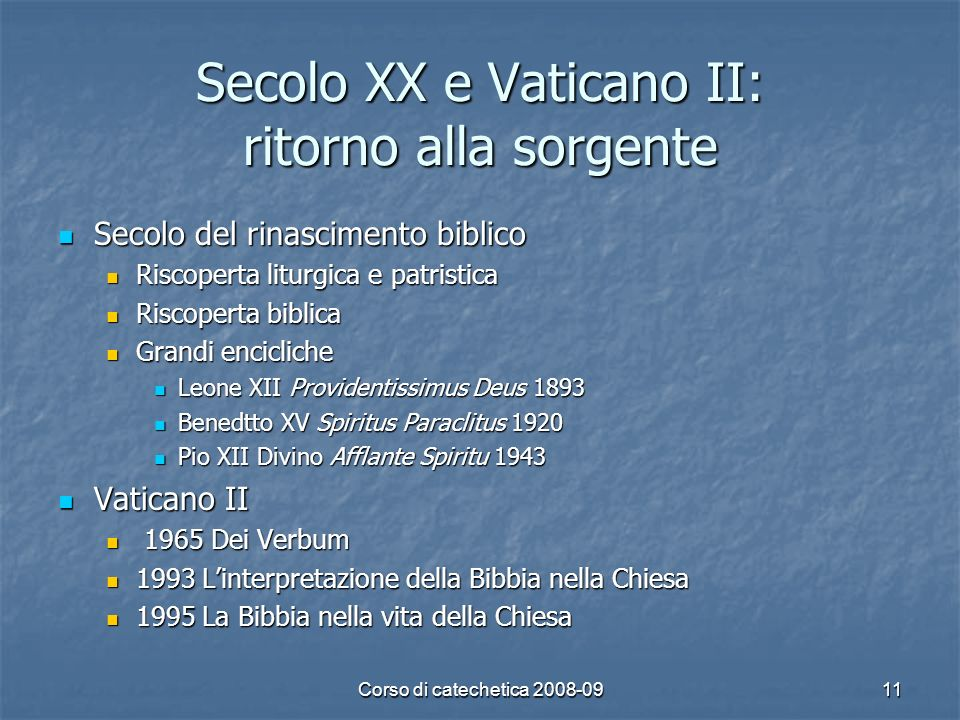 Secolo XX e Vaticano II: ritorno alla sorgente