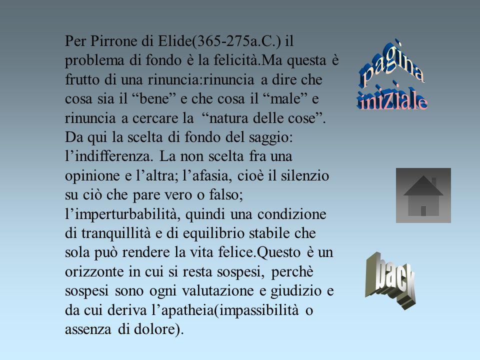 Per Pirrone di Elide(365-275a. C. ) il problema di fondo è la felicità
