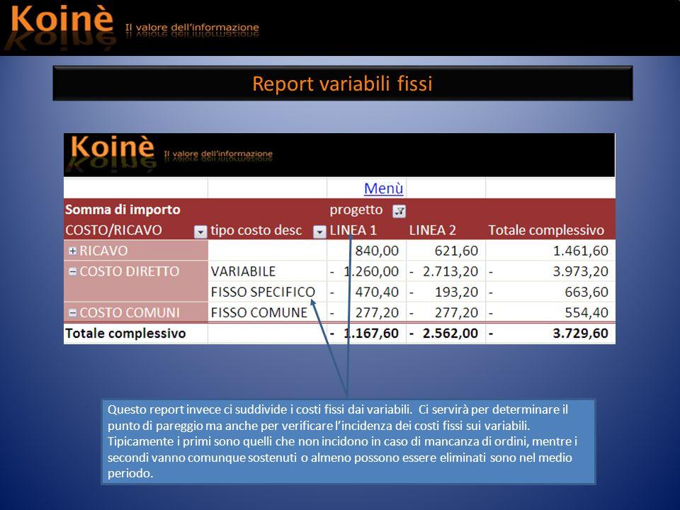 Report variabili fissi
