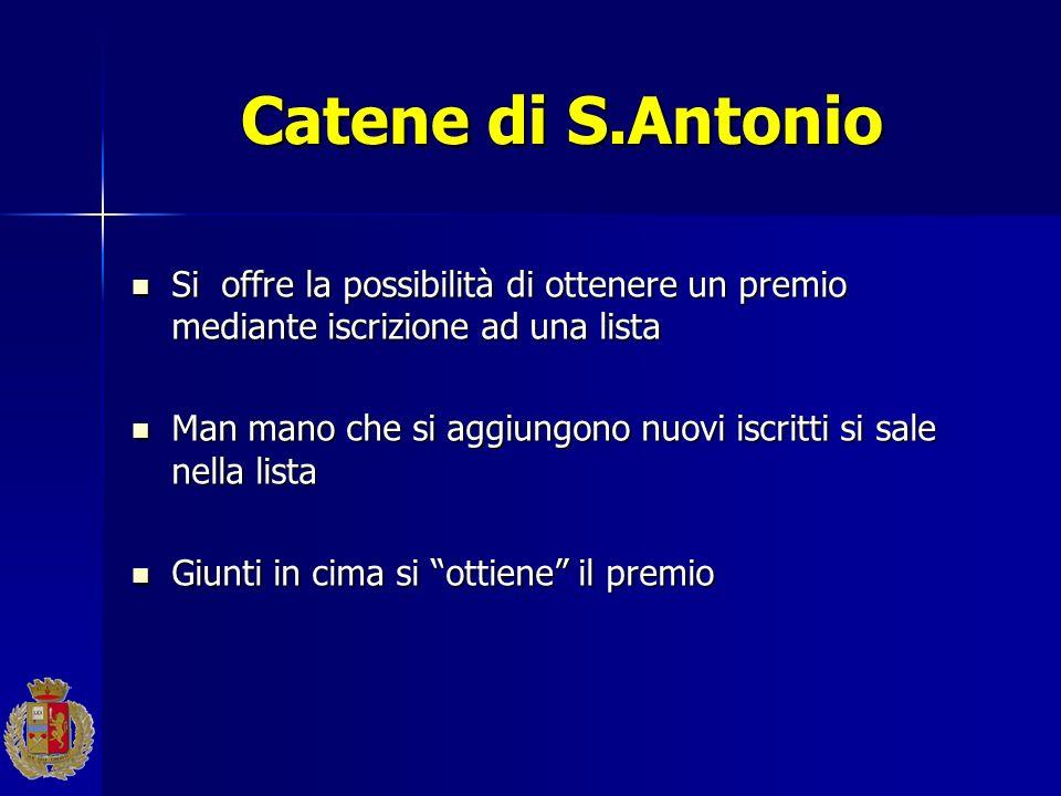 Catene di S.Antonio Si offre la possibilità di ottenere un premio mediante iscrizione ad una lista.