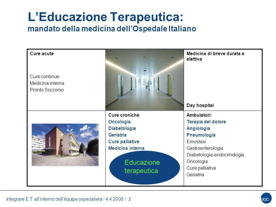L'Educazione Terapeutica: mandato della medicina dell'Ospedale Italiano