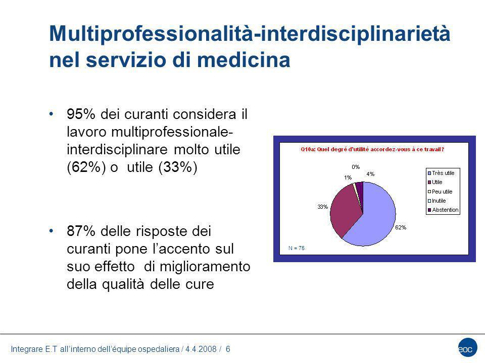 Multiprofessionalità-interdisciplinarietà nel servizio di medicina