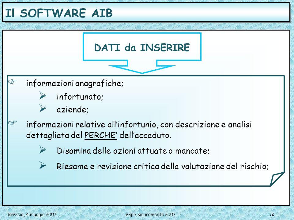 Il SOFTWARE AIB DATI da INSERIRE informazioni anagrafiche;