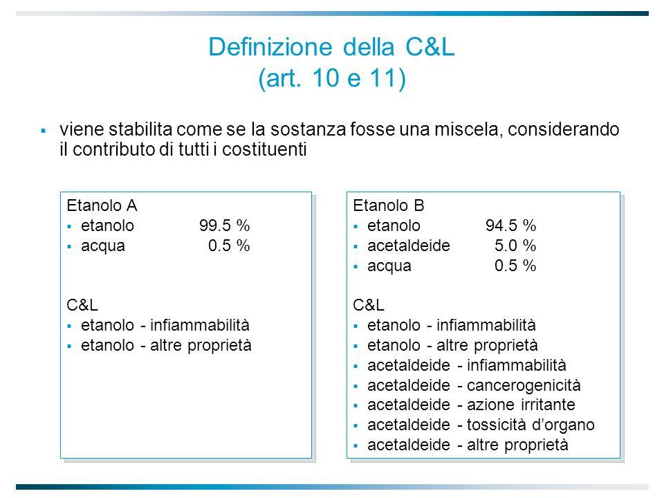 Definizione della C&L (art. 10 e 11)