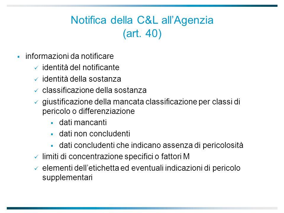 Notifica della C&L all'Agenzia (art. 40)