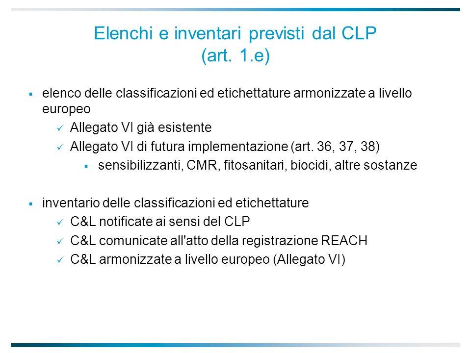 Elenchi e inventari previsti dal CLP (art. 1.e)