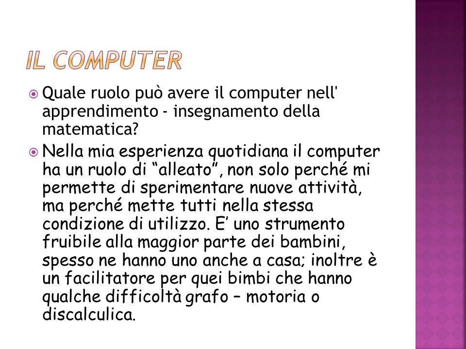 Il computer Quale ruolo può avere il computer nell apprendimento - insegnamento della matematica