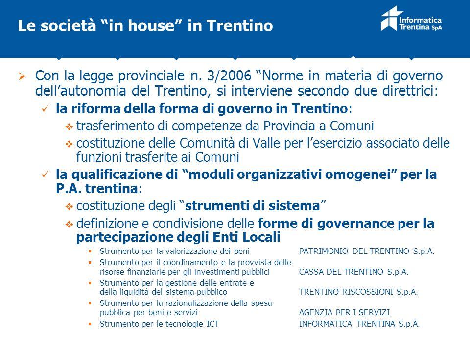 Le società in house in Trentino