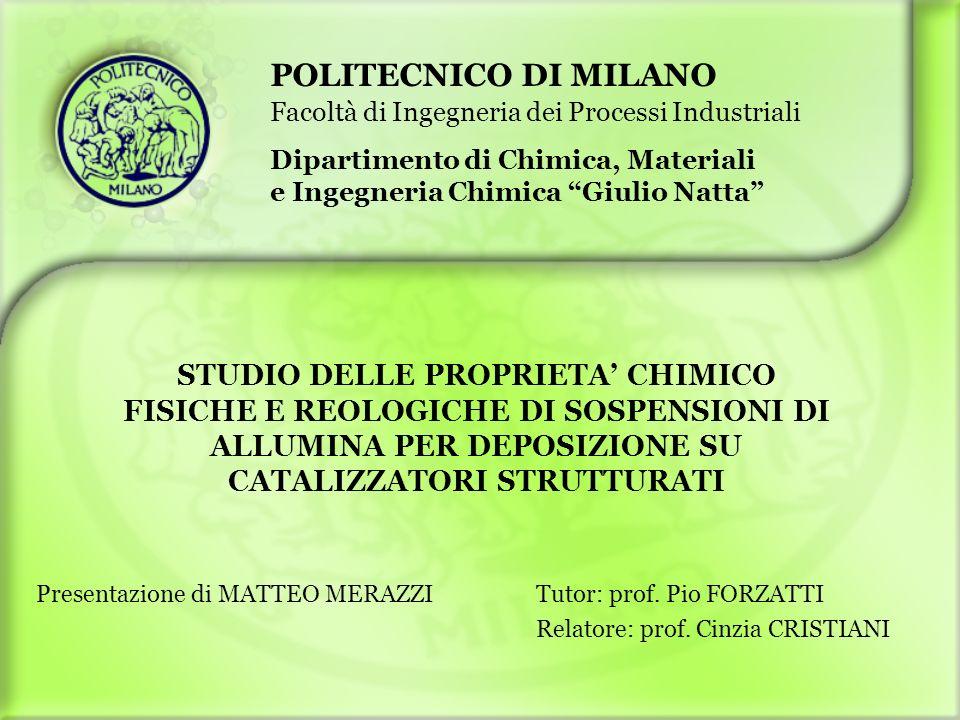 POLITECNICO DI MILANO Facoltà di Ingegneria dei Processi Industriali. Dipartimento di Chimica, Materiali.