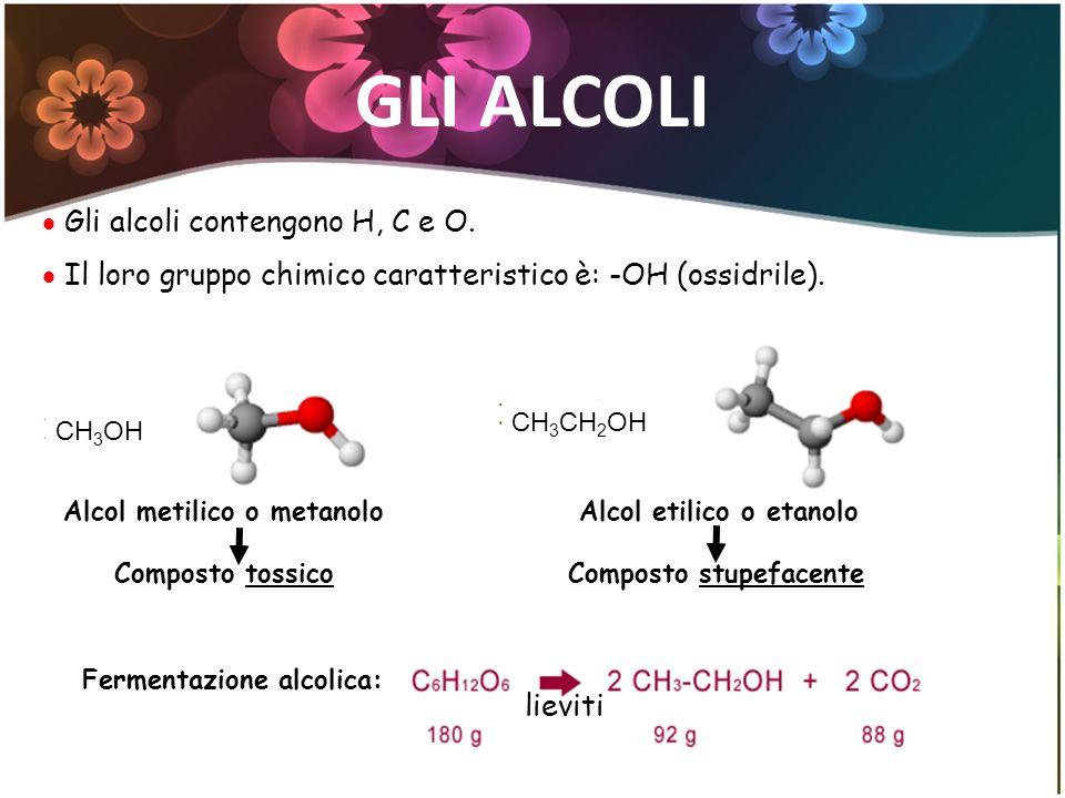 GLI ALCOLI Gli alcoli contengono H, C e O.