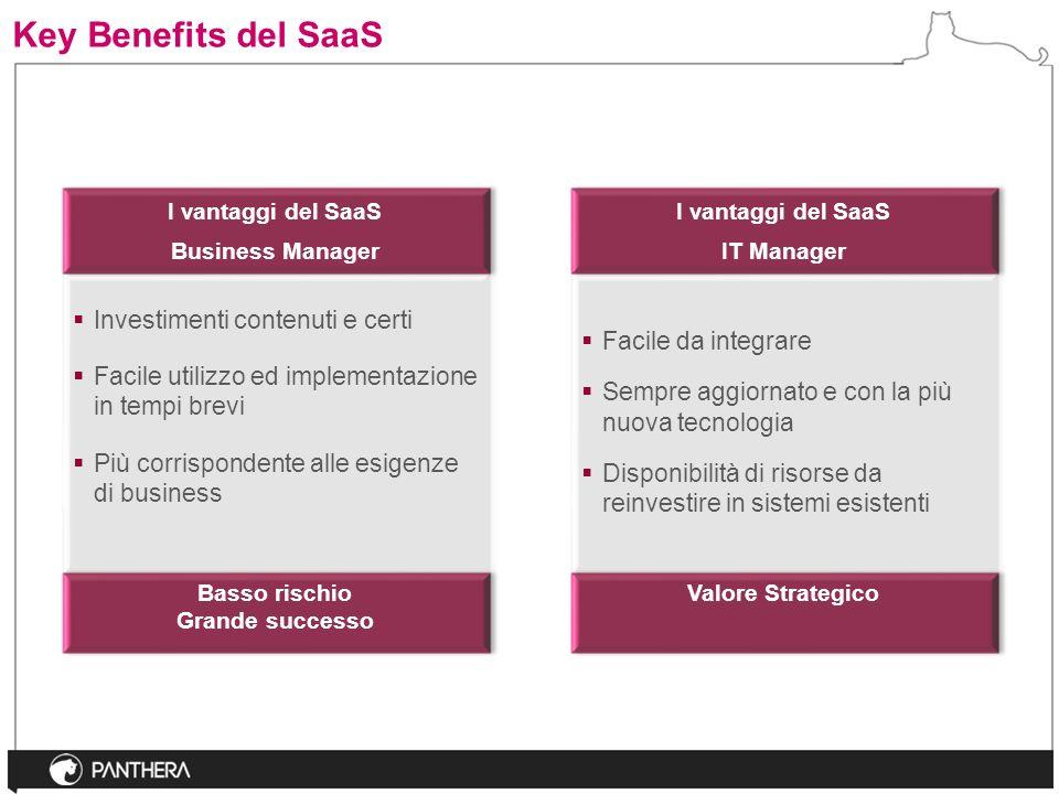 Key Benefits del SaaS Investimenti contenuti e certi