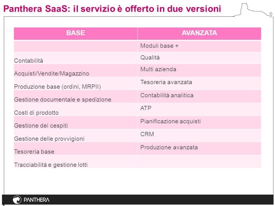 Panthera SaaS: il servizio è offerto in due versioni