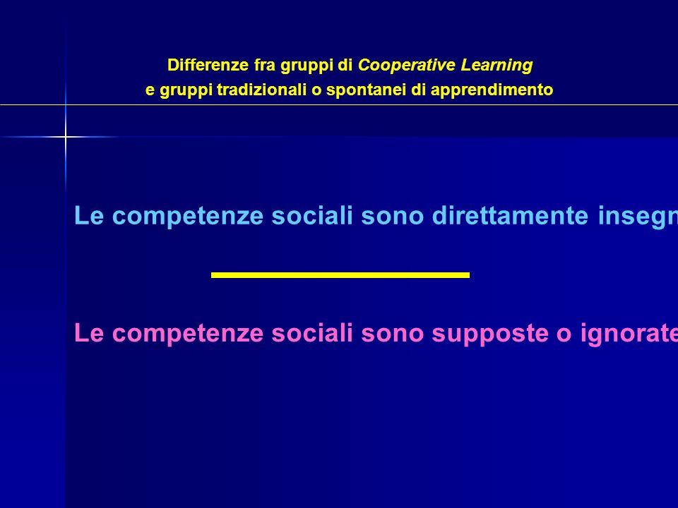 Le competenze sociali sono direttamente insegnate