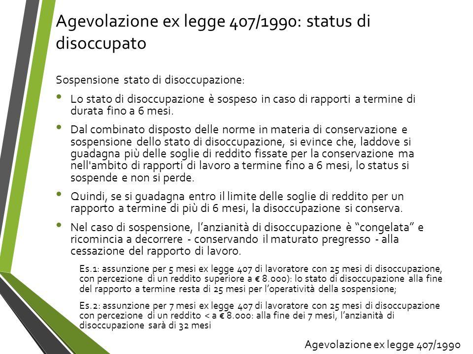 Agevolazione ex legge 407/1990: status di disoccupato