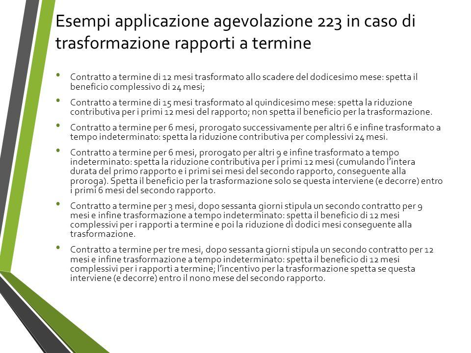 Esempi applicazione agevolazione 223 in caso di trasformazione rapporti a termine