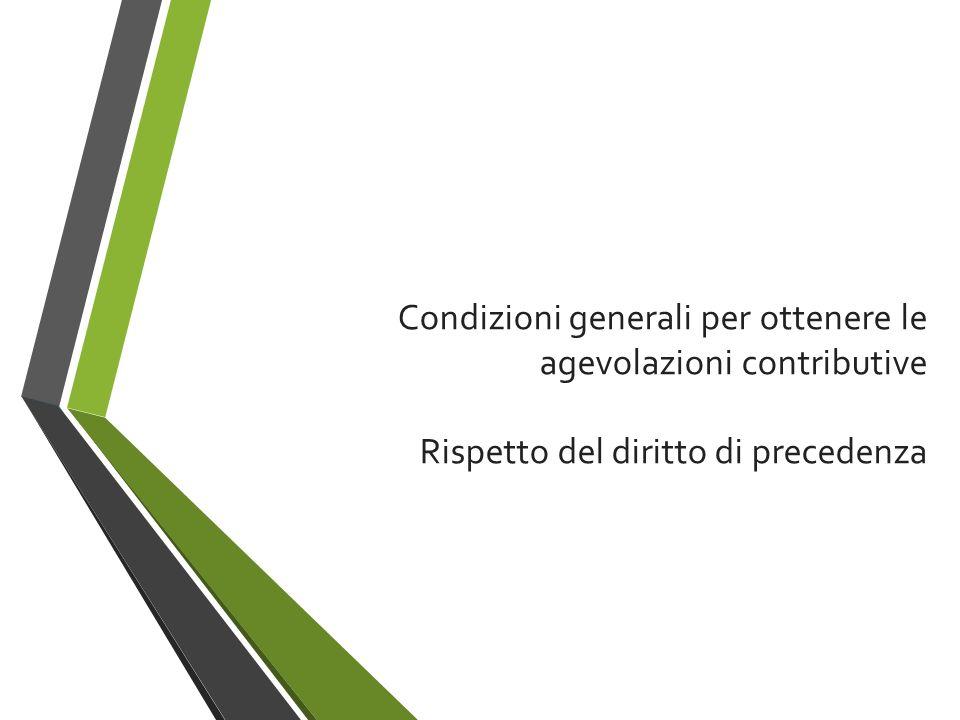 Condizioni generali per ottenere le agevolazioni contributive Rispetto del diritto di precedenza