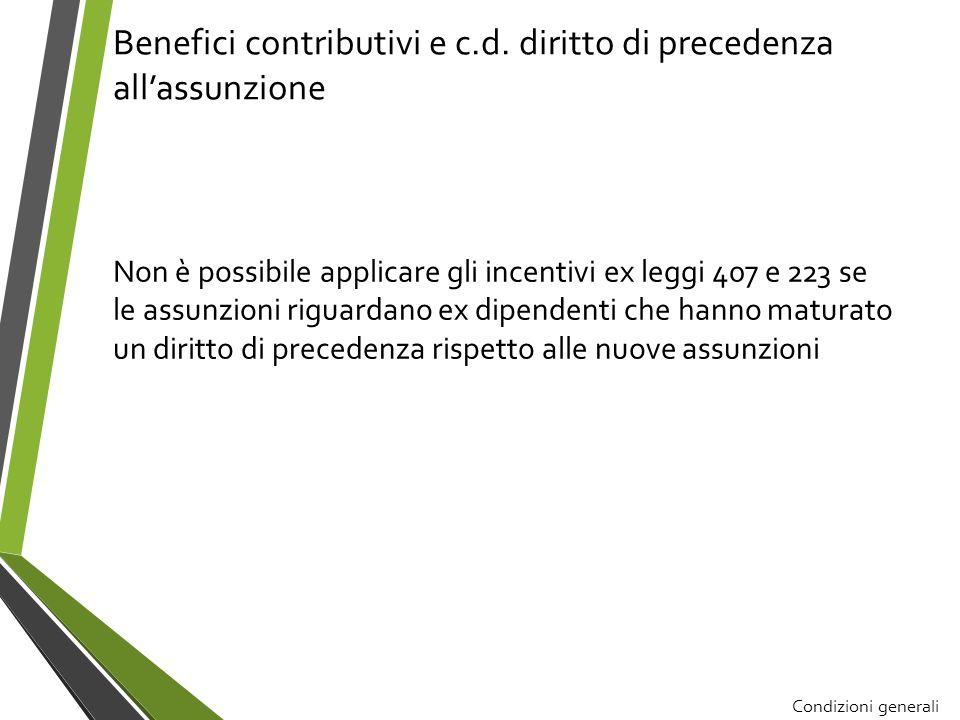 Benefici contributivi e c.d. diritto di precedenza all'assunzione