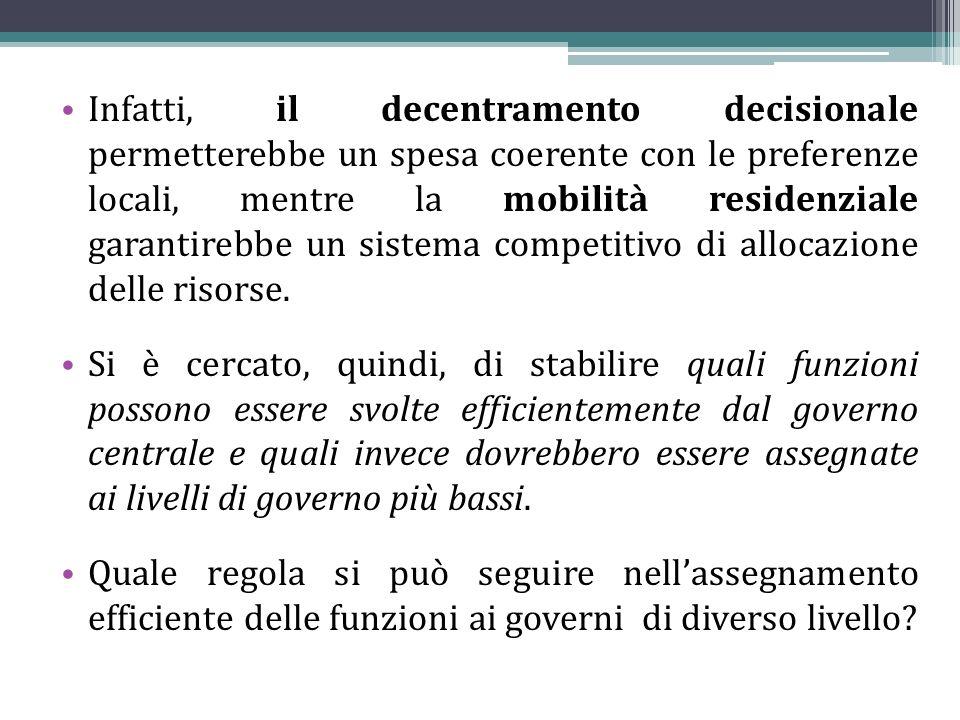 Infatti, il decentramento decisionale permetterebbe un spesa coerente con le preferenze locali, mentre la mobilità residenziale garantirebbe un sistema competitivo di allocazione delle risorse.