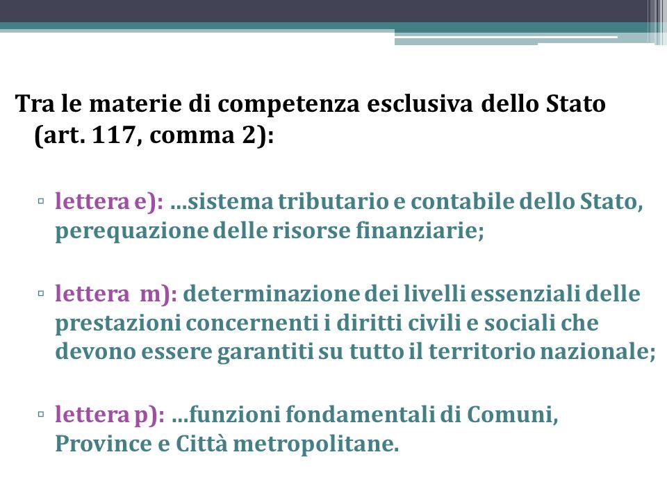Tra le materie di competenza esclusiva dello Stato (art. 117, comma 2):