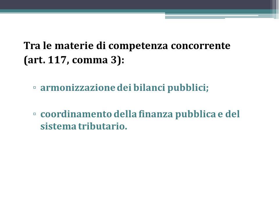 Tra le materie di competenza concorrente (art. 117, comma 3):