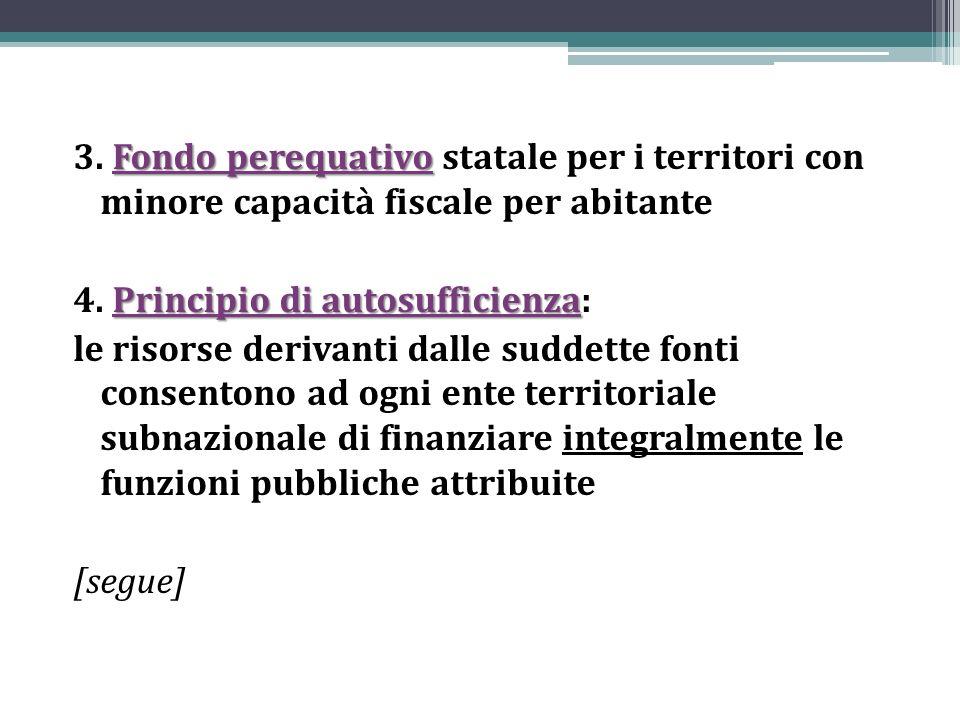 3. Fondo perequativo statale per i territori con minore capacità fiscale per abitante 4.