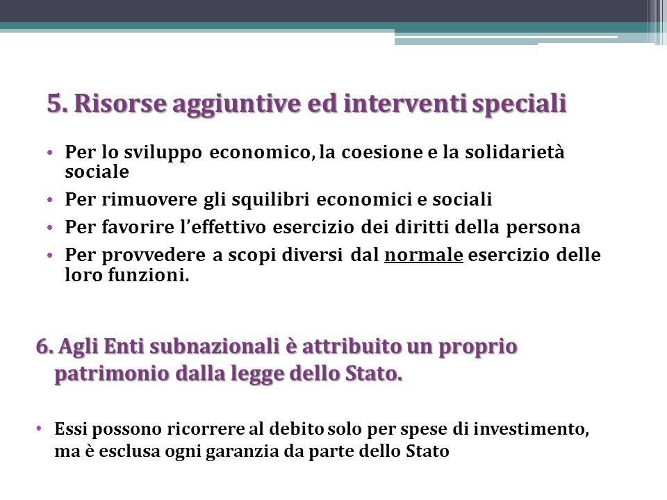 5. Risorse aggiuntive ed interventi speciali