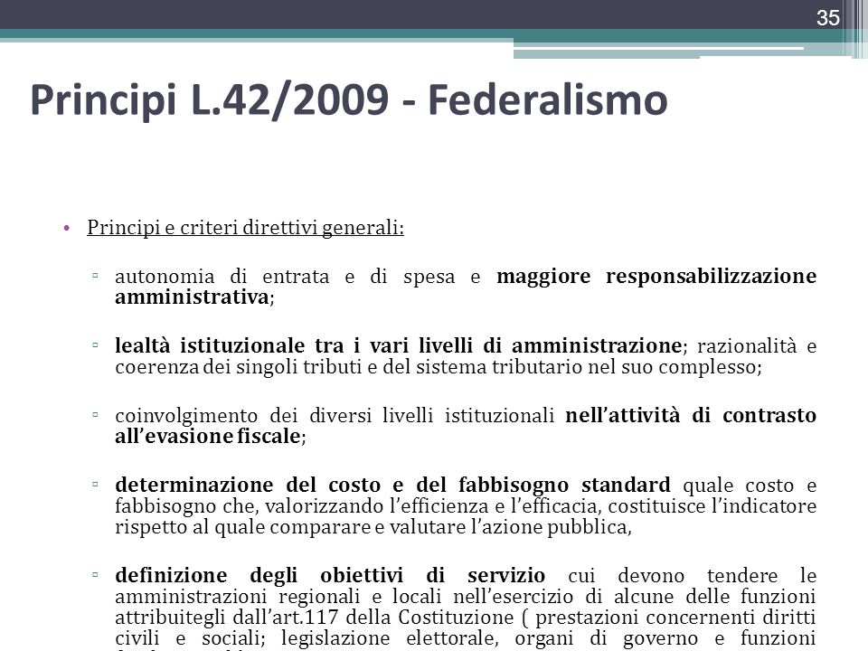 Principi L.42/2009 - Federalismo