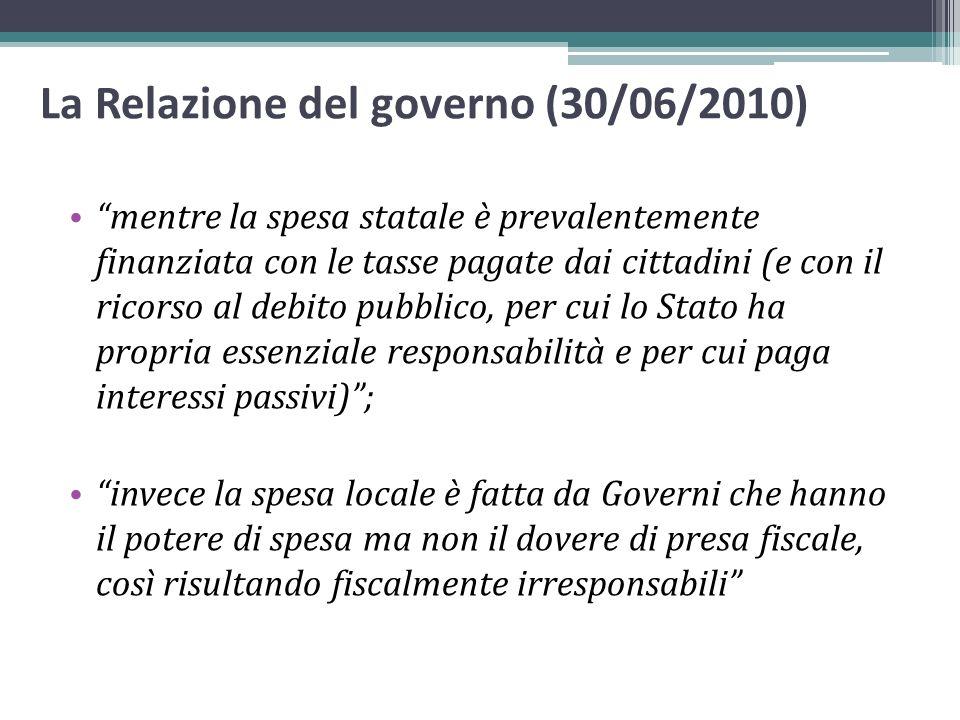 La Relazione del governo (30/06/2010)