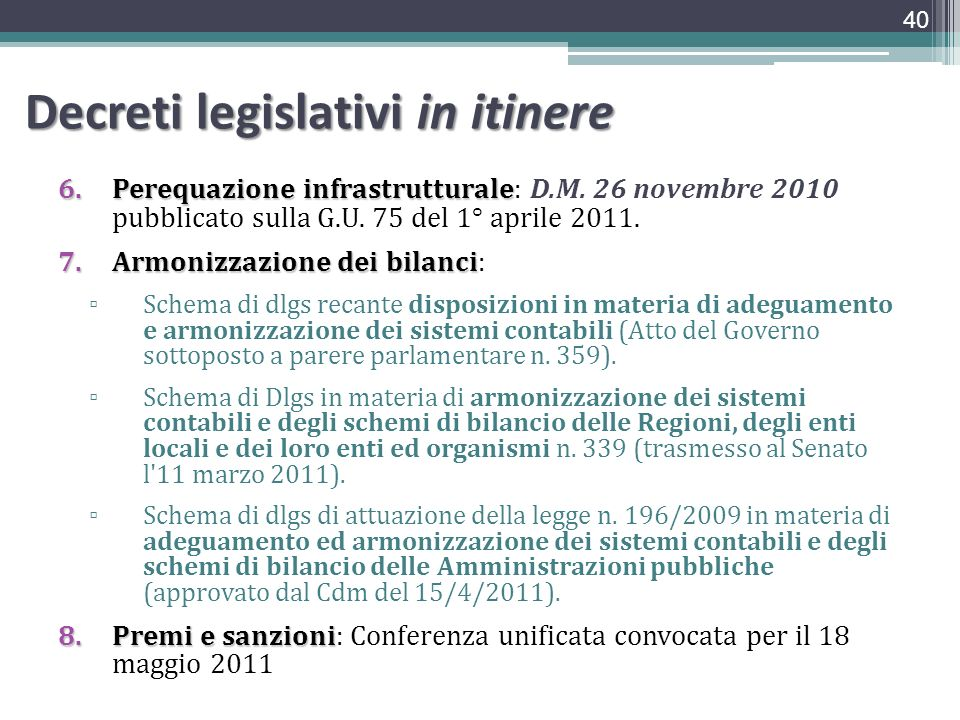 Decreti legislativi in itinere