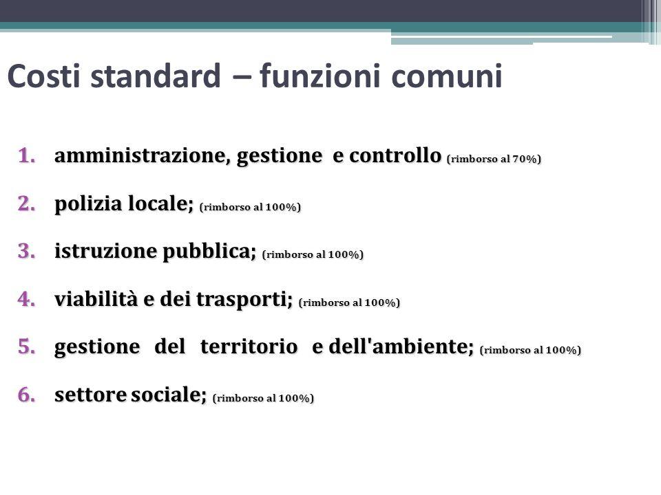 Costi standard – funzioni comuni