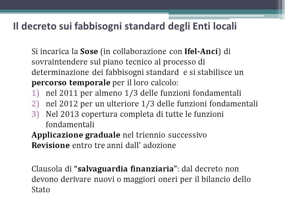 Il decreto sui fabbisogni standard degli Enti locali