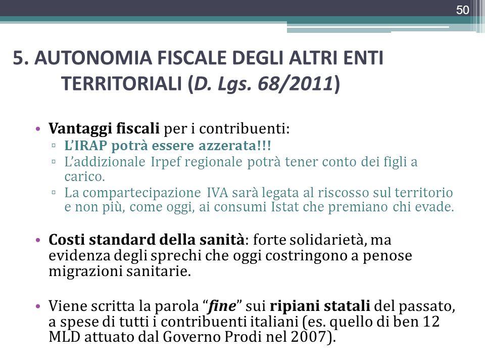 5. AUTONOMIA FISCALE DEGLI ALTRI ENTI TERRITORIALI (D. Lgs. 68/2011)