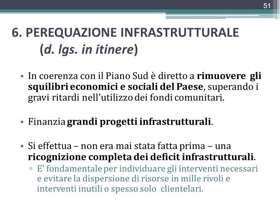 6. PEREQUAZIONE INFRASTRUTTURALE (d. lgs. in itinere)