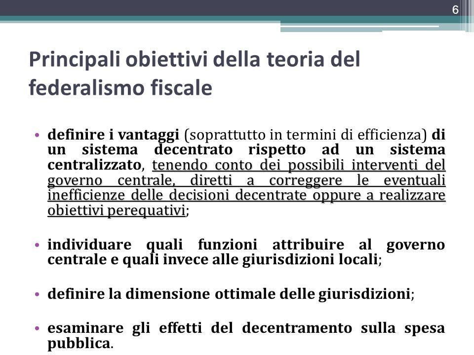 Principali obiettivi della teoria del federalismo fiscale