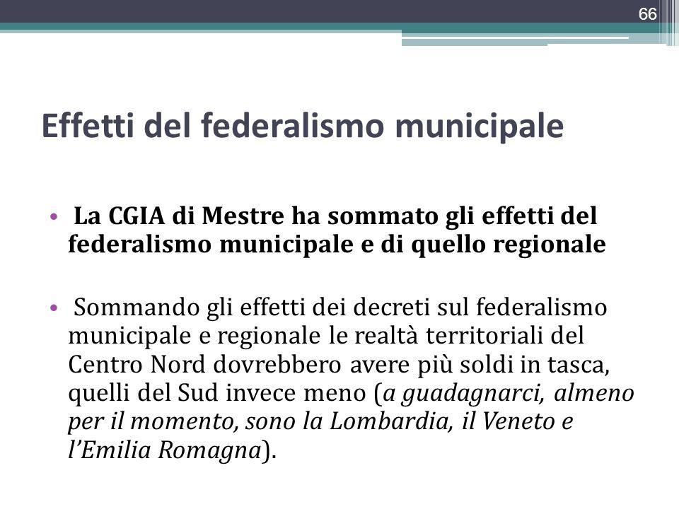Effetti del federalismo municipale