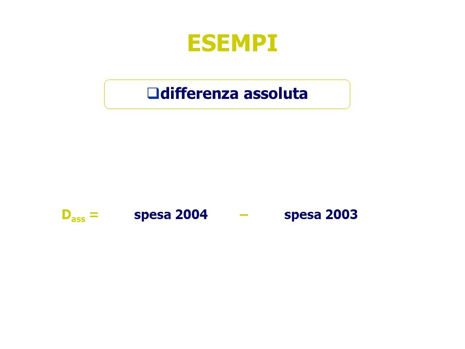 ESEMPI differenza assoluta Dass = spesa 2004 – spesa 2003