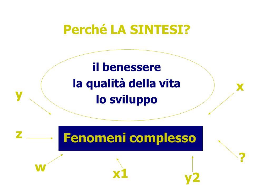 Perché LA SINTESI x y z Fenomeni complesso w x1 y2