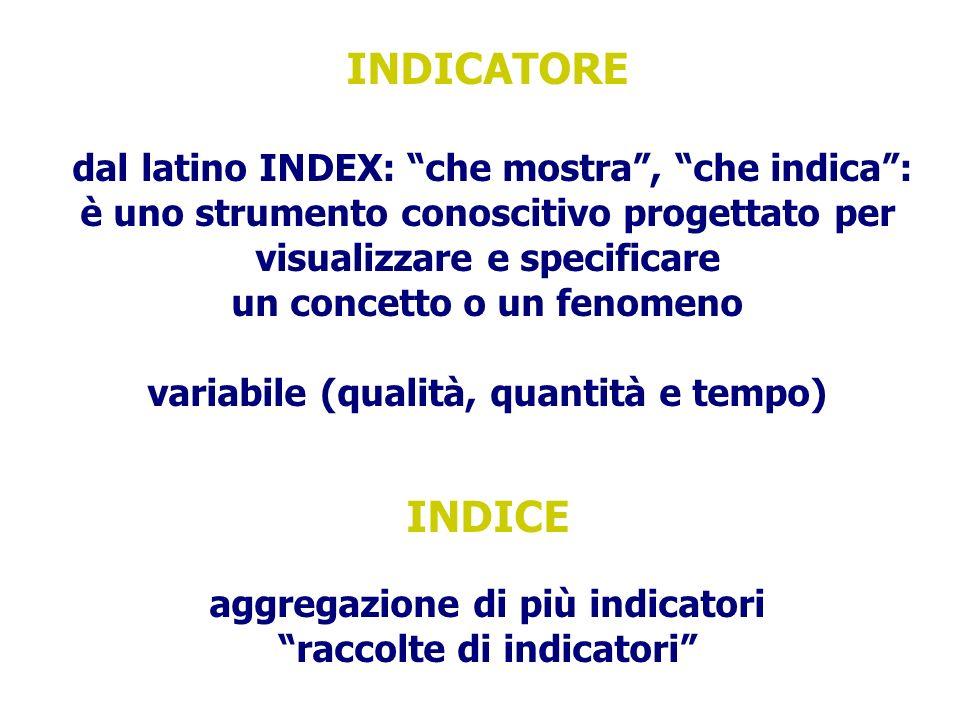 INDICATORE INDICE è uno strumento conoscitivo progettato per