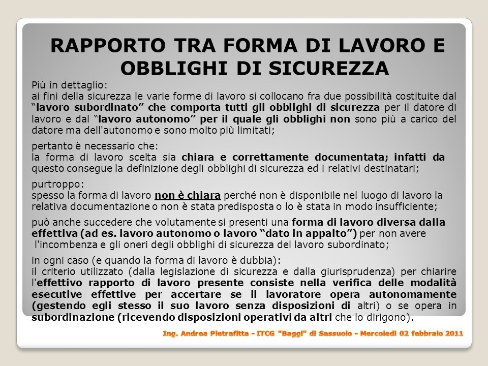 RAPPORTO TRA FORMA DI LAVORO E OBBLIGHI DI SICUREZZA