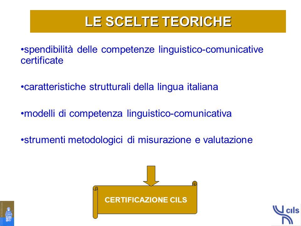 LE SCELTE TEORICHE spendibilità delle competenze linguistico-comunicative certificate. caratteristiche strutturali della lingua italiana.
