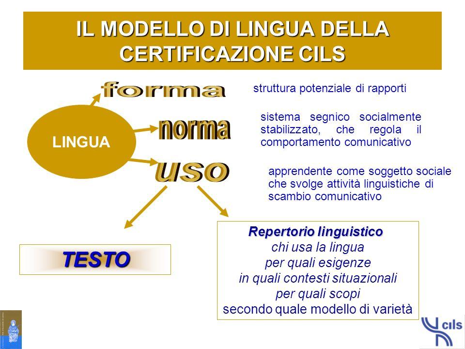 IL MODELLO DI LINGUA DELLA CERTIFICAZIONE CILS
