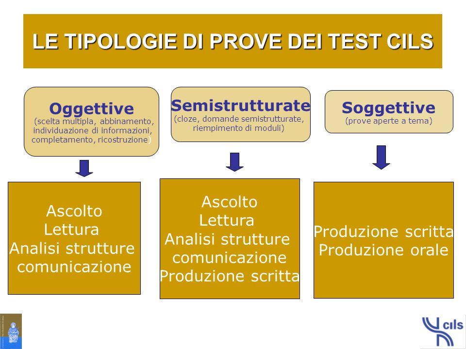 LE TIPOLOGIE DI PROVE DEI TEST CILS