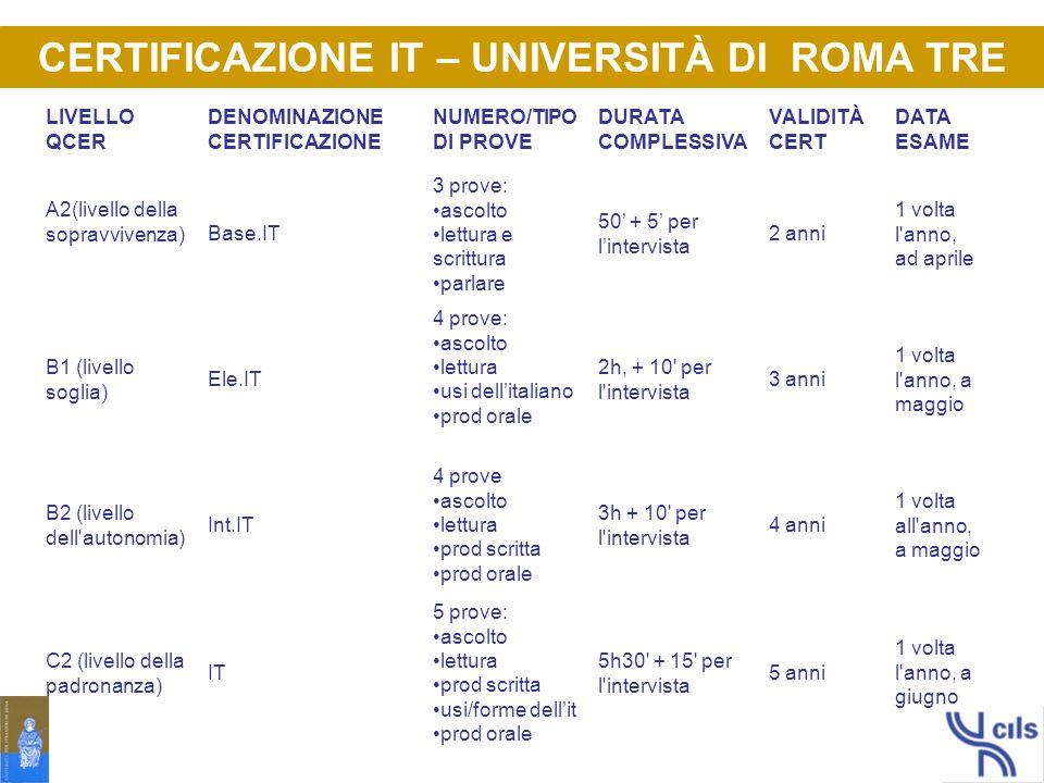 CERTIFICAZIONE IT – UNIVERSITÀ DI ROMA TRE
