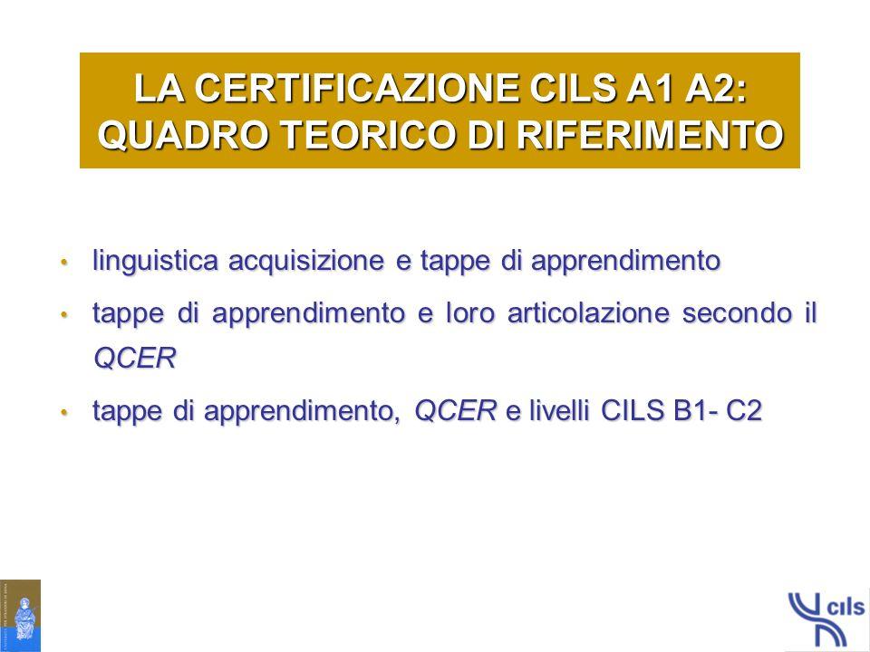 LA CERTIFICAZIONE CILS A1 A2: QUADRO TEORICO DI RIFERIMENTO
