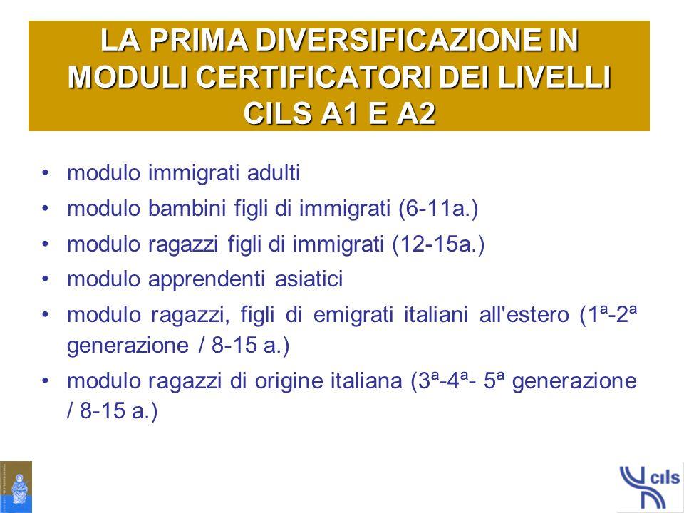 LA PRIMA DIVERSIFICAZIONE IN MODULI CERTIFICATORI DEI LIVELLI CILS A1 E A2