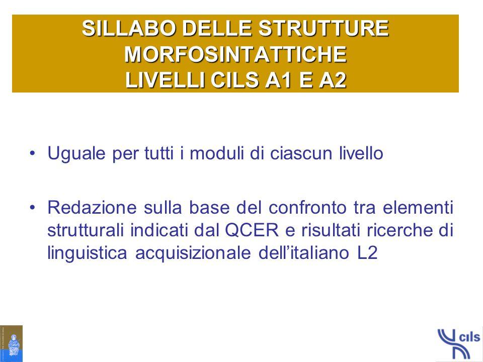 SILLABO DELLE STRUTTURE MORFOSINTATTICHE LIVELLI CILS A1 E A2