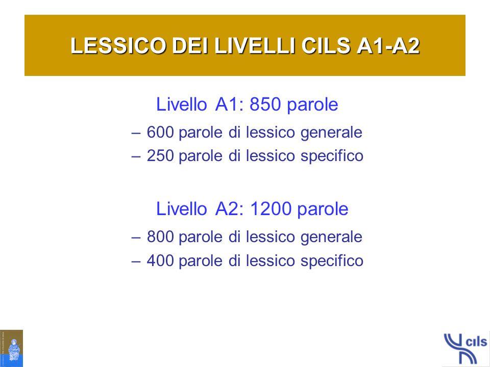 LESSICO DEI LIVELLI CILS A1-A2