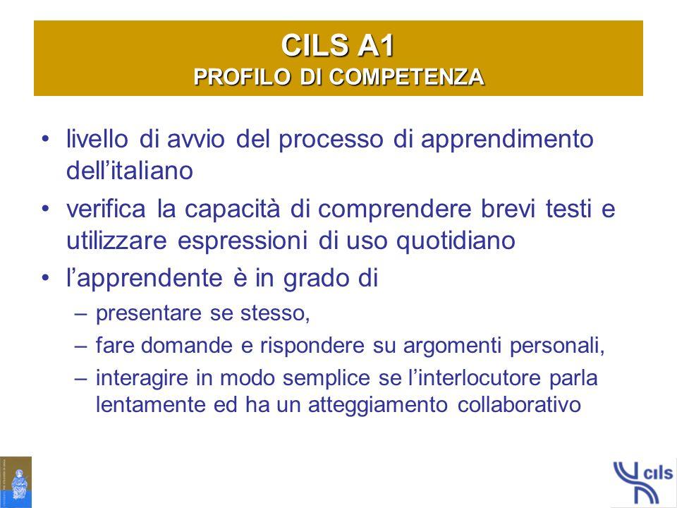 CILS A1 PROFILO DI COMPETENZA