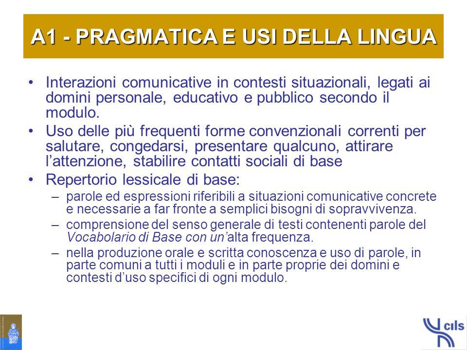 A1 - PRAGMATICA E USI DELLA LINGUA
