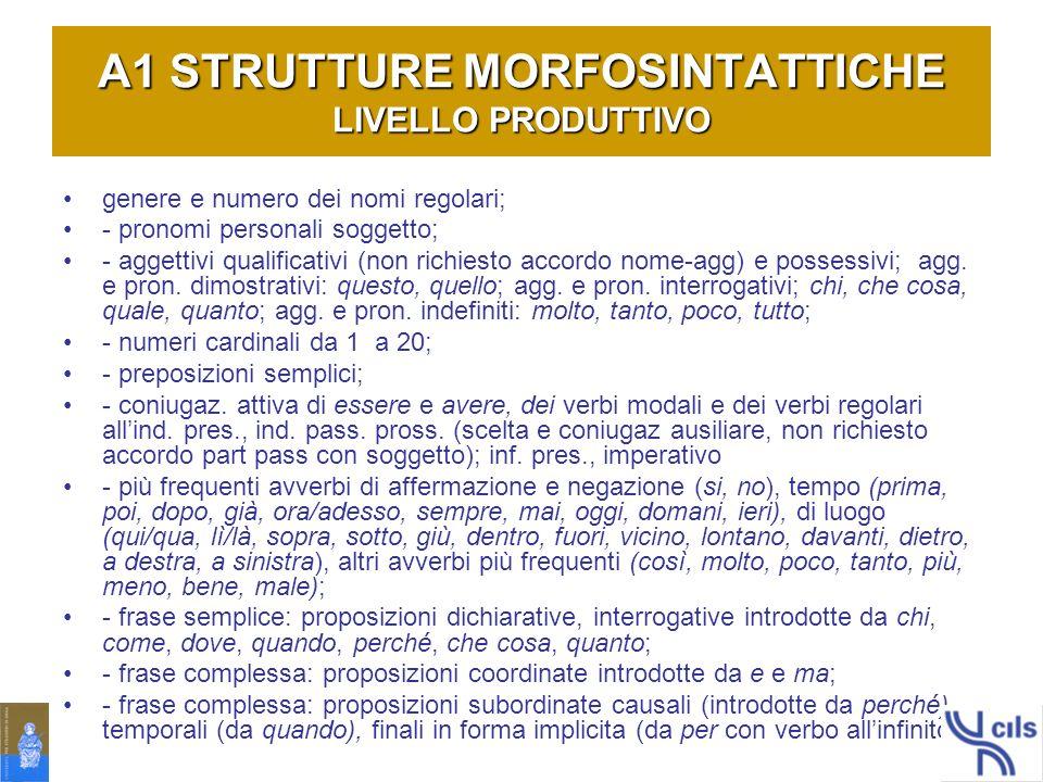 A1 STRUTTURE MORFOSINTATTICHE LIVELLO PRODUTTIVO